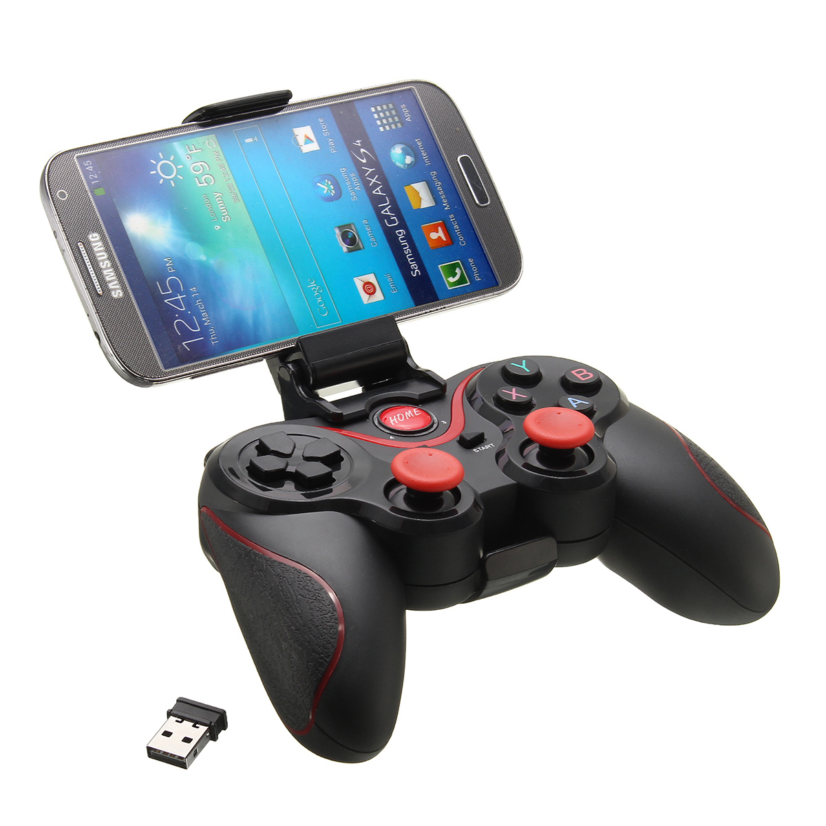 C8 Wireless Bluetooth 3.0 Game Pad Gaming Controller+Holder+Receiver for Android Smart Phone Tablet