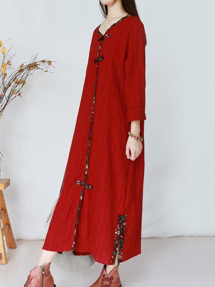 Vintage Women Plate Buckle Folk Style Long Sleeve Dress