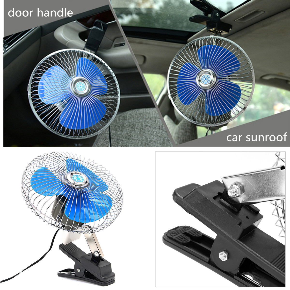 12/24V 8 Inch Mini Oscillating Car Air Cooling Fan Clip On with Cigarette Lighter