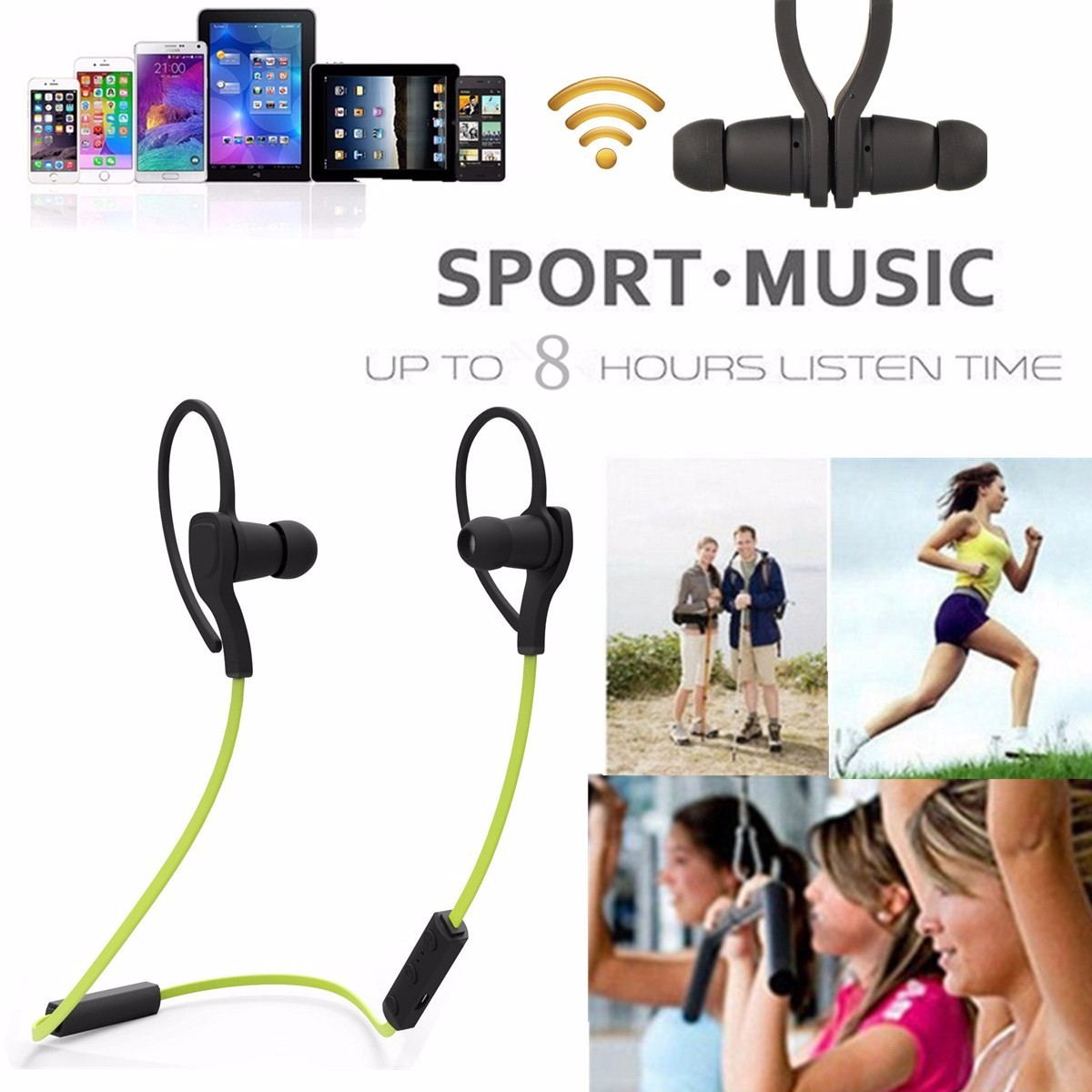 Wireless bluetooth 4.0 EDR Sport Stereo Headphone Earphone For iPhone 6S Samsung LG
