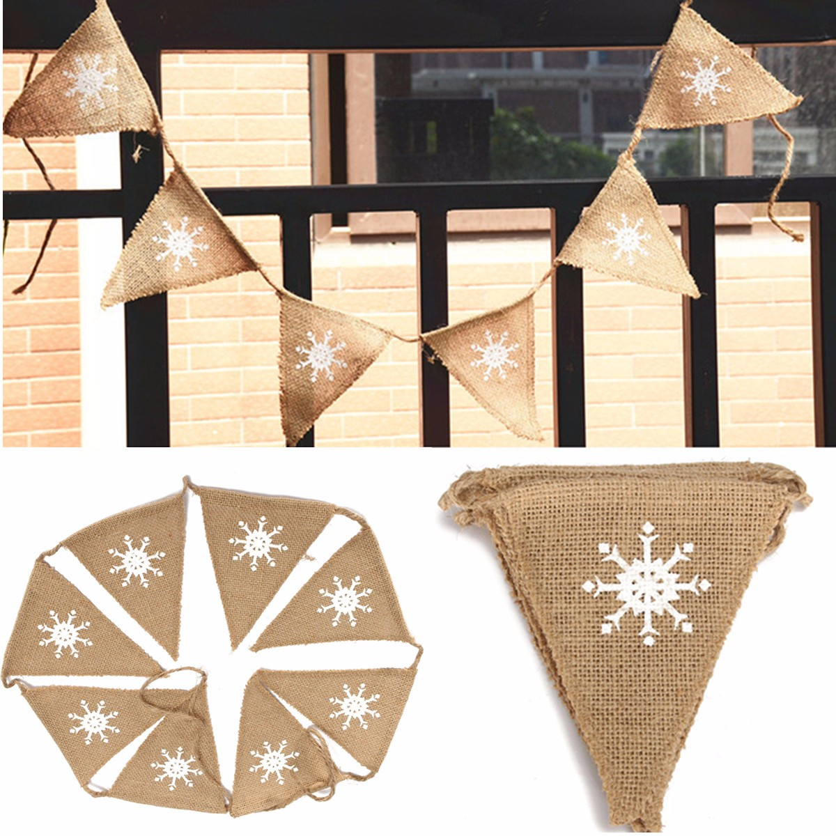 1.6M Snowflake Pattern Hessian Burlap Fabric Rustic Wedding Banner Bunting Decoration