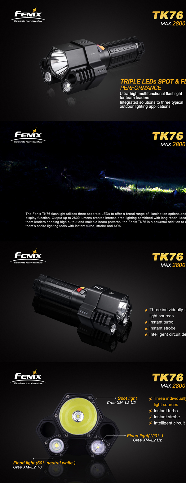 FENIX TK76 2 3 Head 2800 Lumen High Light LED Flashlight With Tube