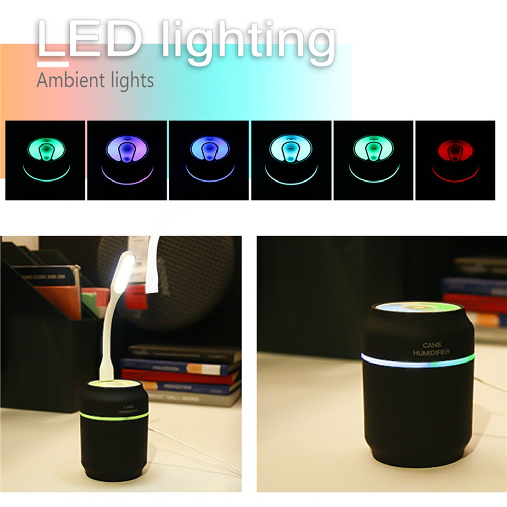 3 in 1 Mini USB Humidifier Air Mist LED RGB Night Light Fan Air Diffuser