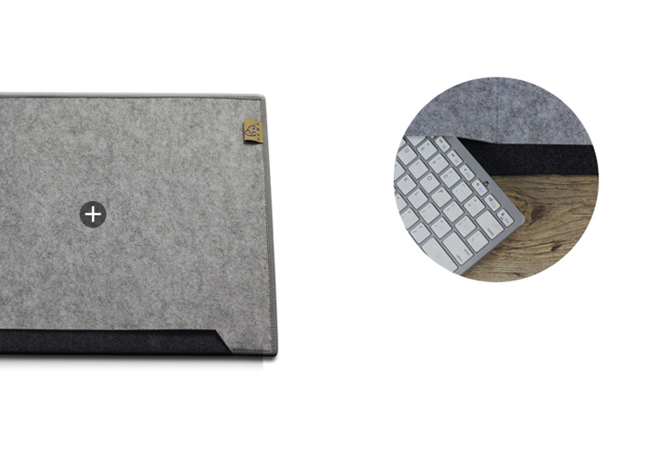 NGWX Super Large Simple Fashion 650x340mm Felt Computer Desk Pad-Brown/Dark Grey