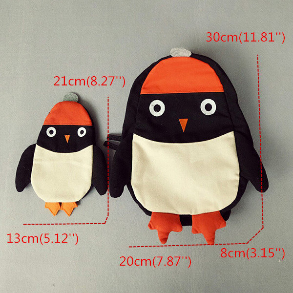 Kindergarten Children Cartoon Penguin Backpack Canvas Crossbody Bag Two Size