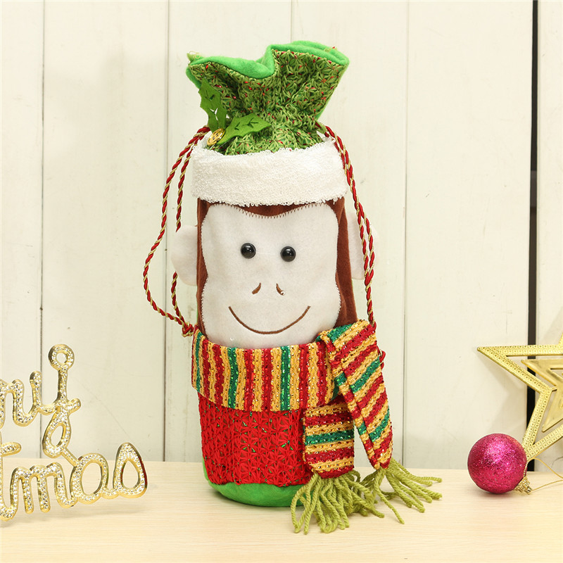 Christmas Monkey Pattern Champagne Wine Bottle Cover Bag Xmas Dinner Table Decor