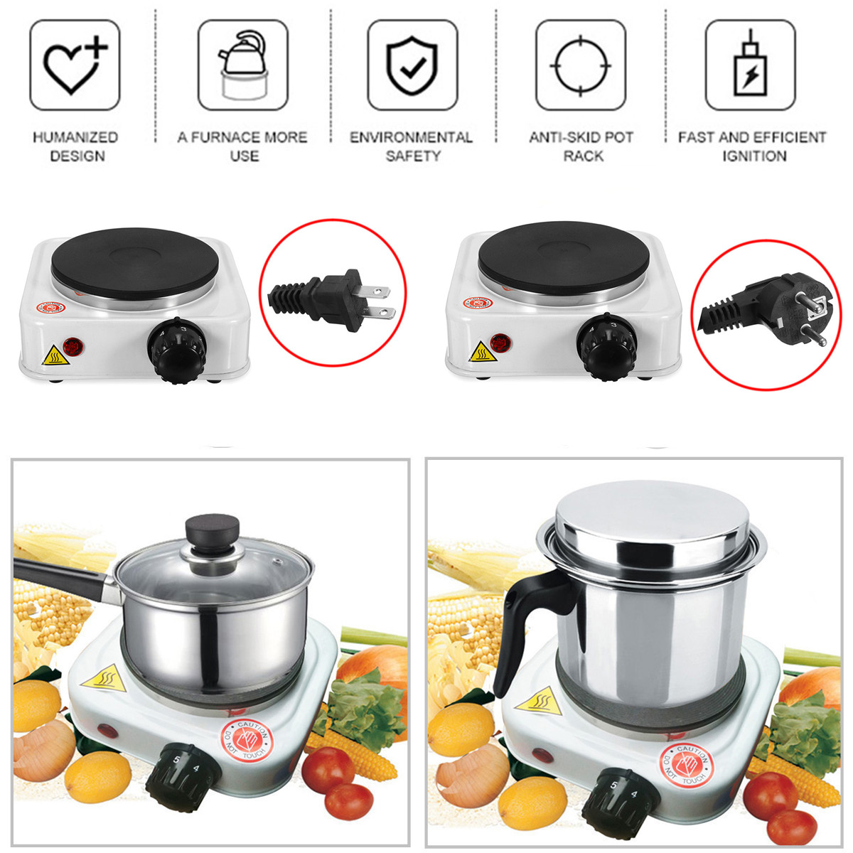 1000W 110V/220V Electric Stove Burner Cooking Plate Home Heating Tea Coffee Heater Warmer