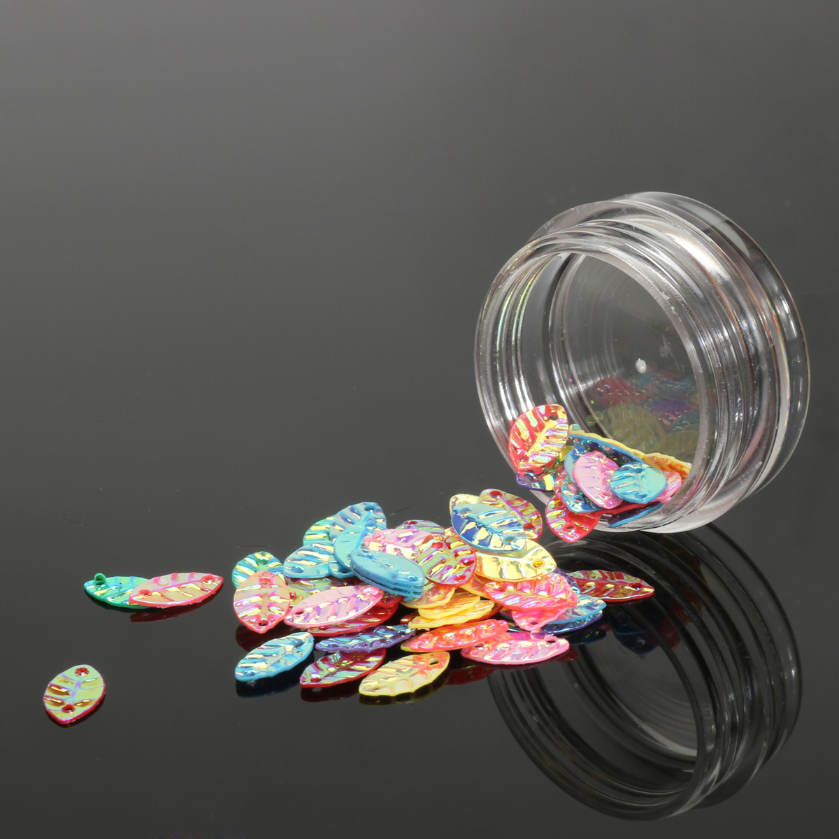 12 pots Leaf Shaped Colorful Nail Sequins Decoration Sheet Glitter Cute Holographic Laser Man
