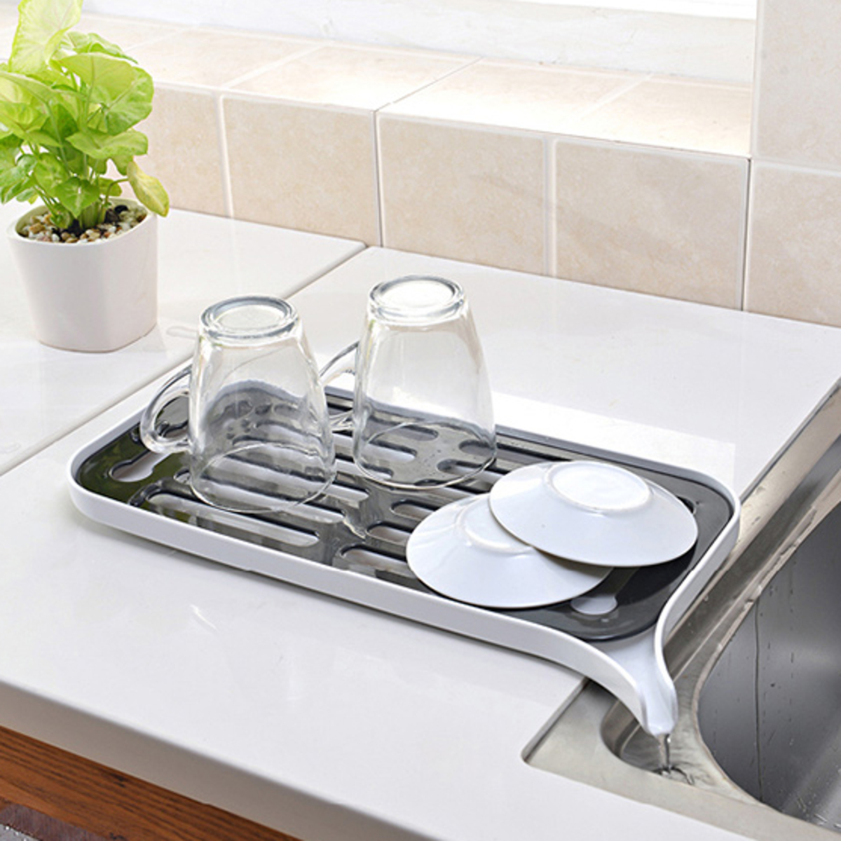 Kitchen Dish Drainer Drip Tray Rack Board Sink Drying Holder Washing Up Bowl Strainer