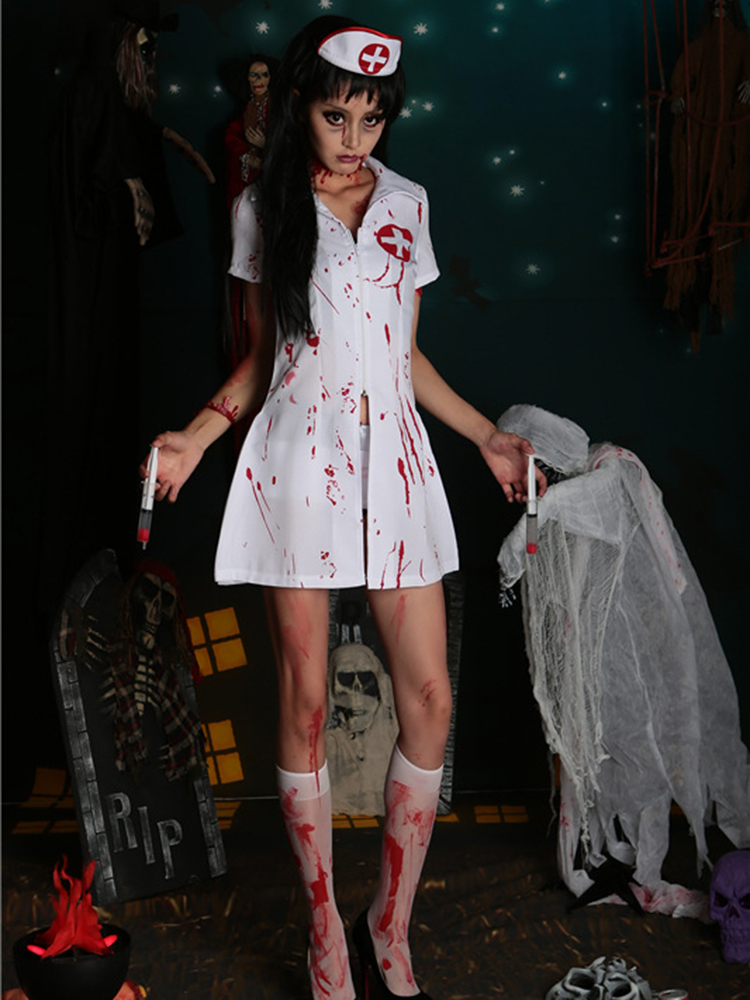 Halloween Sexy Nurse Costume Women Zipper Zombie Vampires Cosplay Dress