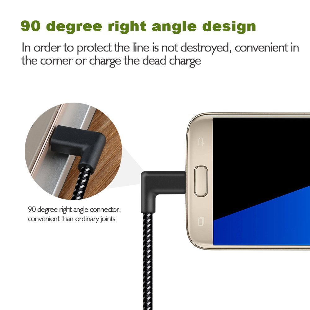 90 Degree Reversible 2.4A Micro USB Charging Data Cable 1M for Samsung S6 S7 Xiaomi Note 4