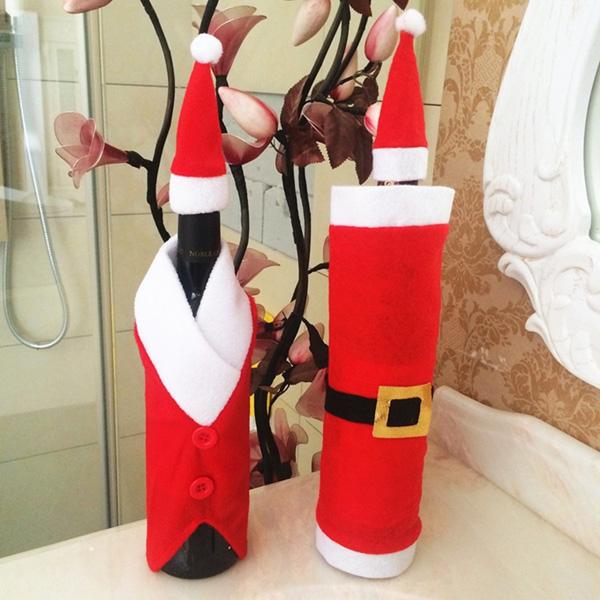 Image of Weihnachten Red Wine Bottle Bag Weihnachtsmann Weihnachtsdekoration