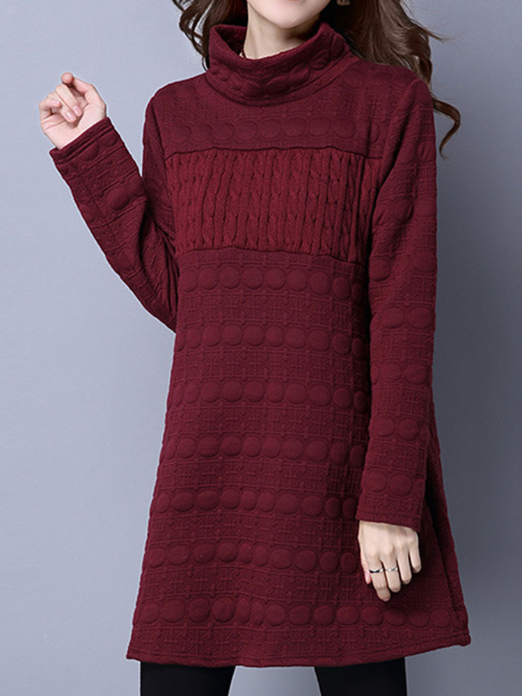 Vintage Turtleneck Solid Long Sleeve Loose Women Sweater Dress