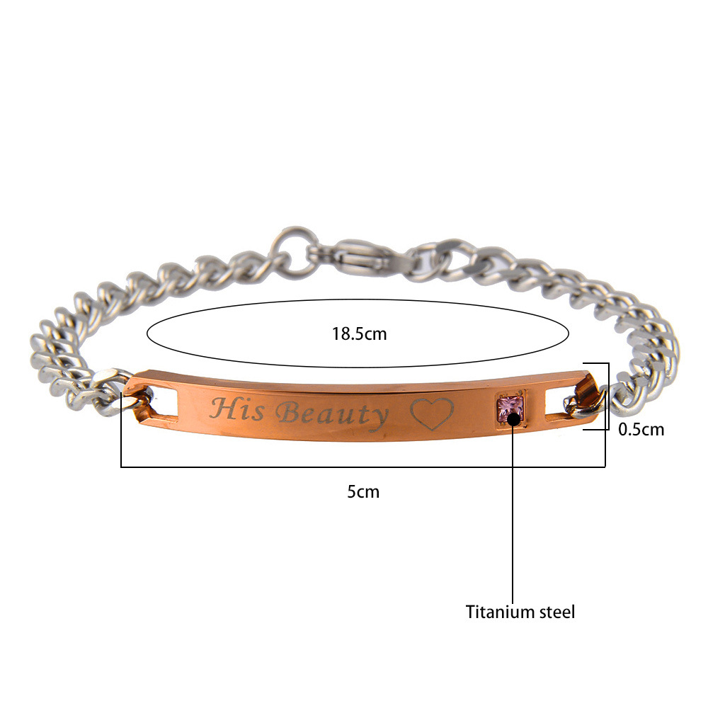 Titanium Steel Couple Love Chain Valentine's Day Bracelet Gift for Men Women