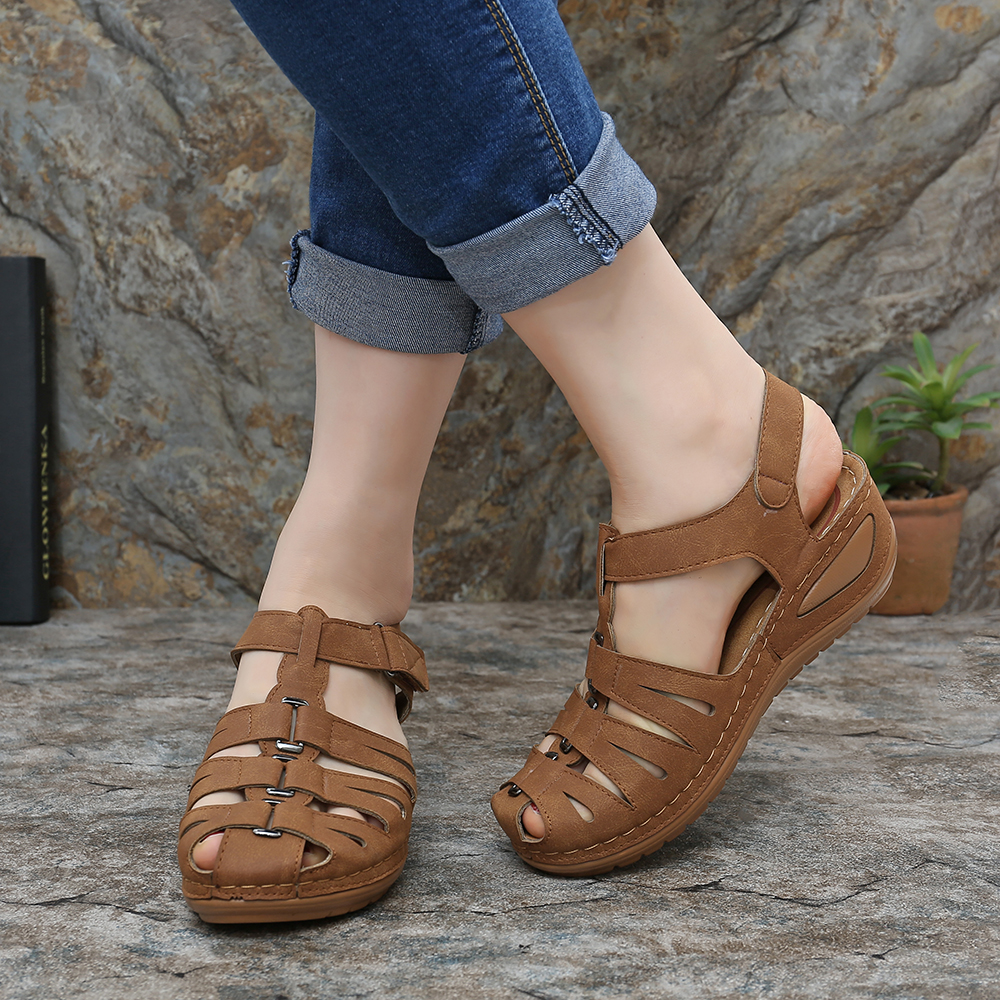LOSTISY Hollow Splicing Buckle Wedge Sandals