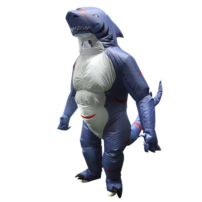 Up to 2.2m Adult Shark Inflatable Clothing With Blower Halloween Costume Clothing Adult Party Fancy Animal Clothing