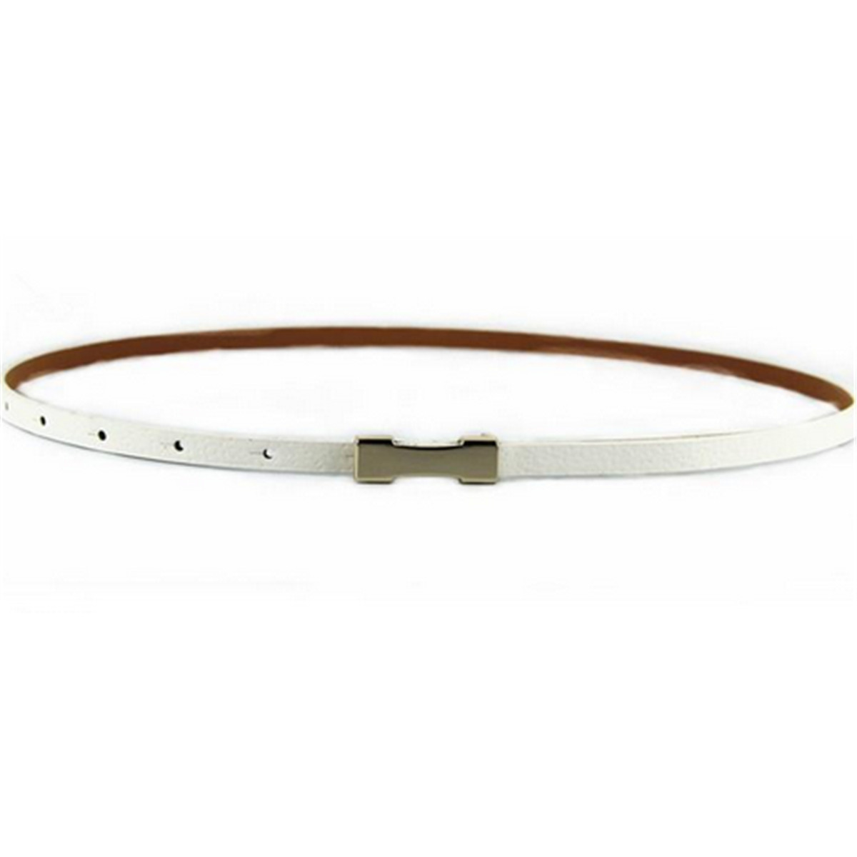 Women Ladies PU Leather Belt Thin Skinny Metal Gold Buckle Waistband