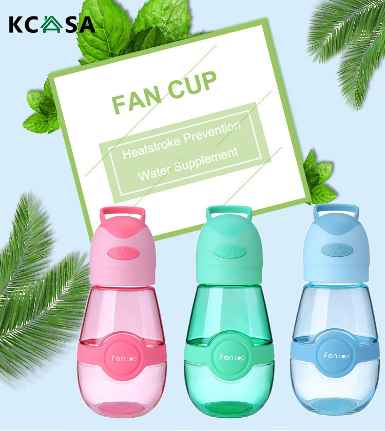 KCASA 400ML Fan Cup Portable Water Bottle With Mini USB Fan Handy BPA-Free Heat-Resisting Without Dripping Water Bottle For Outdoors