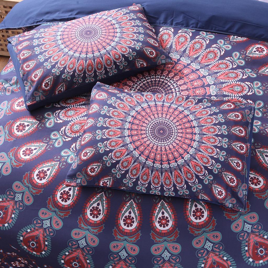 3pcs bett set home mandala bettw sche set queen bettw sche soft twill b hmischen druck bettbezug. Black Bedroom Furniture Sets. Home Design Ideas