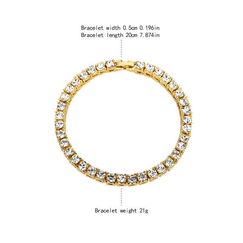 Hip Hop Rhinestone Chain Zinc Alloy Gold Color Rock Style Bracelet for Men