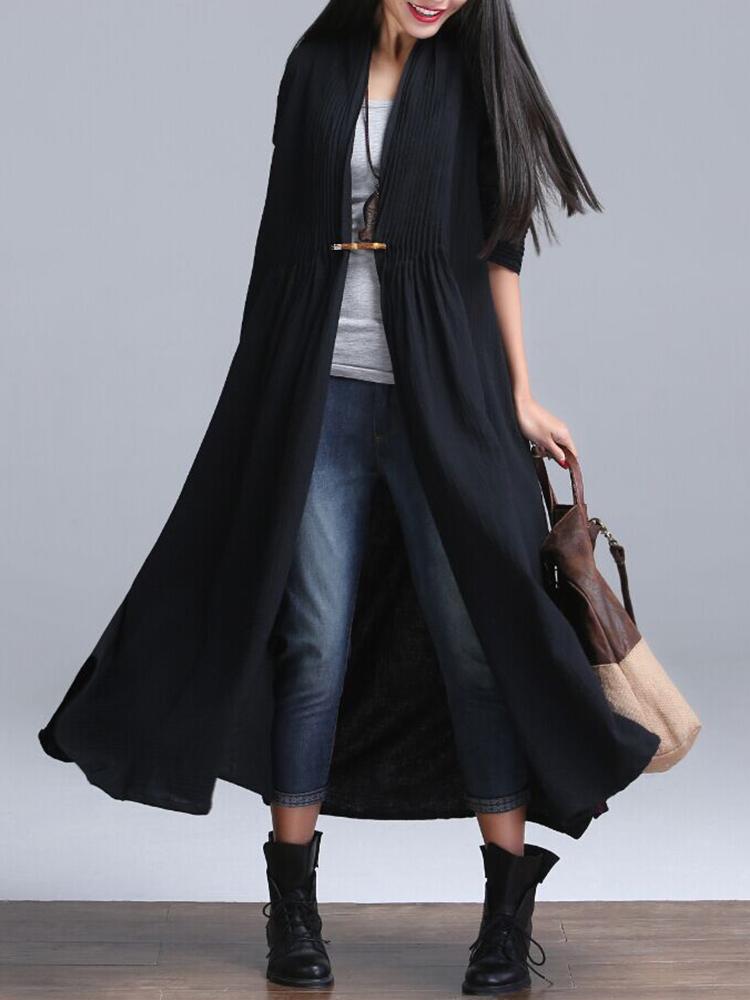 Plus Size Vintage Women Solid Ruffles Long Sleeve Long Coat Cardigan