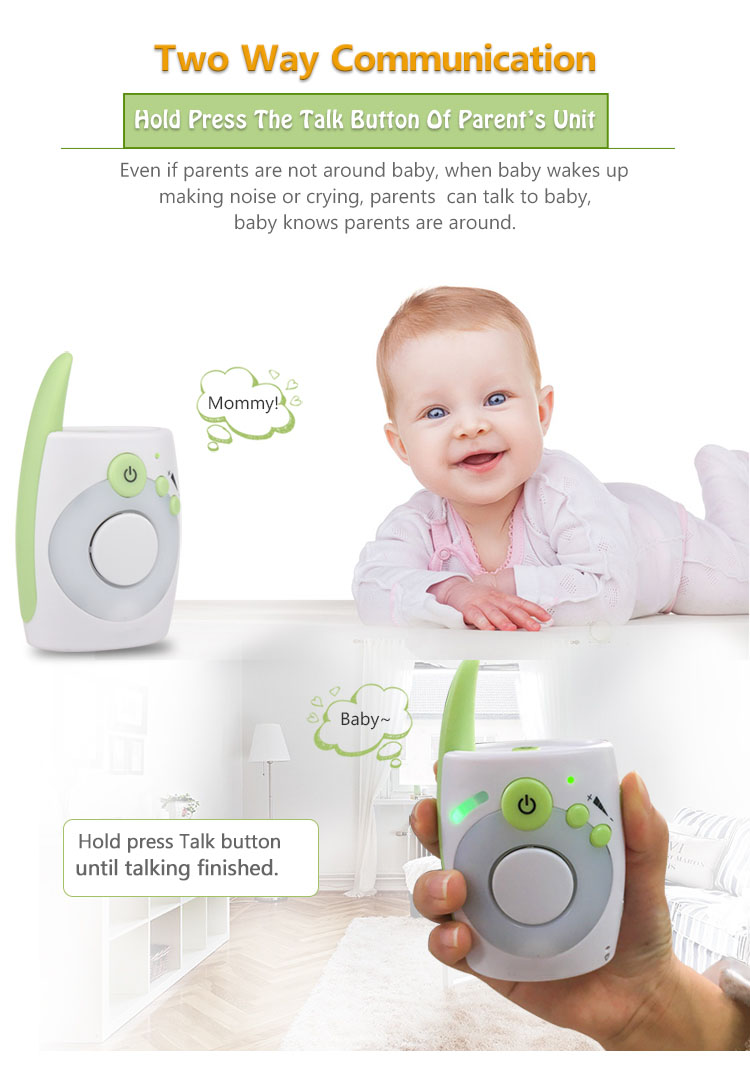 Vvcare D1020 2.4Ghz Wireless Digital Baby Monitor Audio Radio Nanny Baby Phone Monitor Kids Mini Walkie Talkie