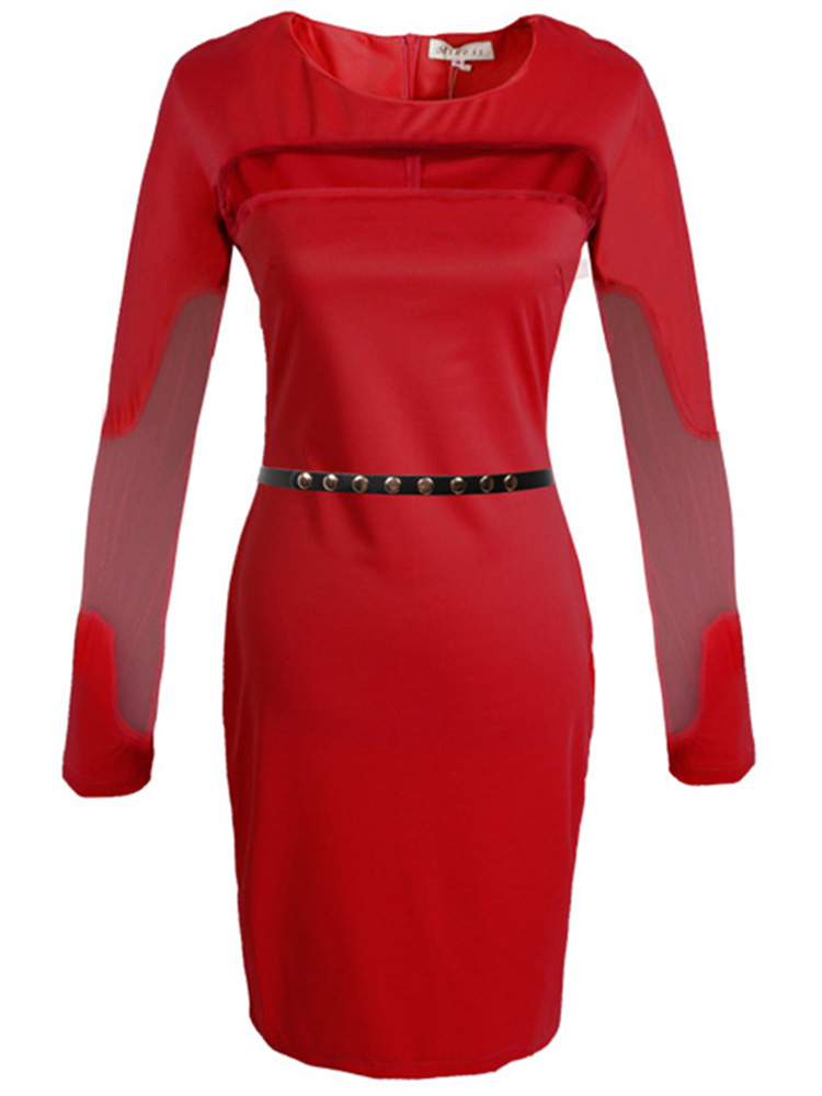 Sexy Mesh Patchwork Long Sleeve Bodycon Dress With Belt