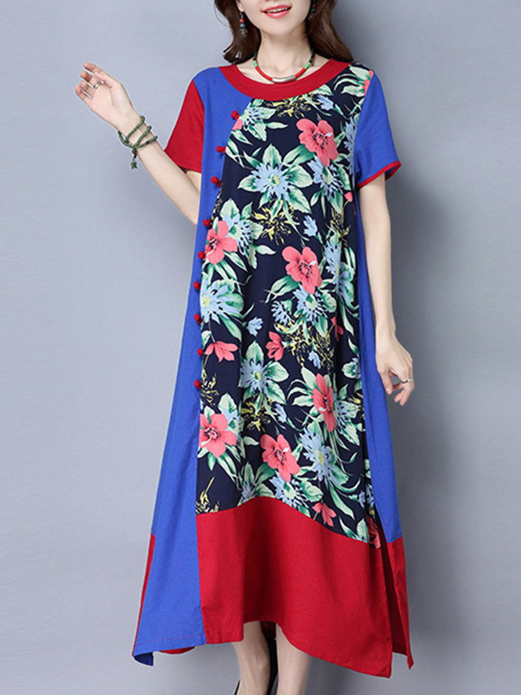 Vintage Women Printed Side Split Patchwork Loose Dresses