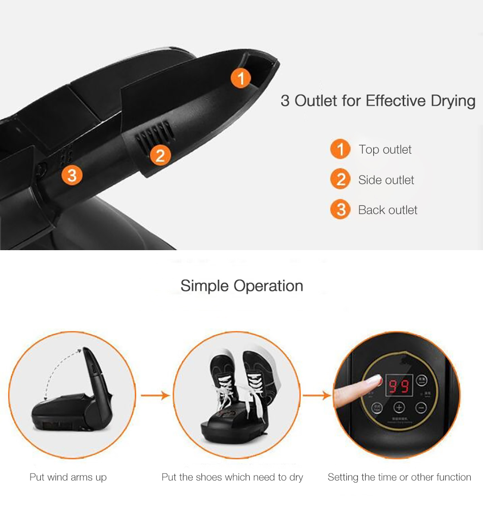 Smart Electronic Foldable Portable Remote Control Timing Drying Machine Ozone Gloves Boots Shoe Dryer