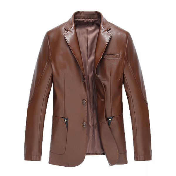 Fashion Casual Blazers Chest Pocket Faux Leather Jacket