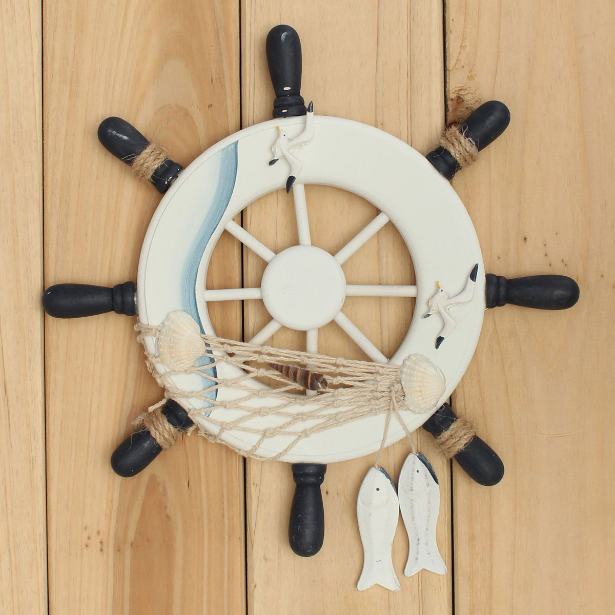 Wood Boat Ship Wheel Rudder Nautical Decoration Beach Home Wall Hanging Decorations