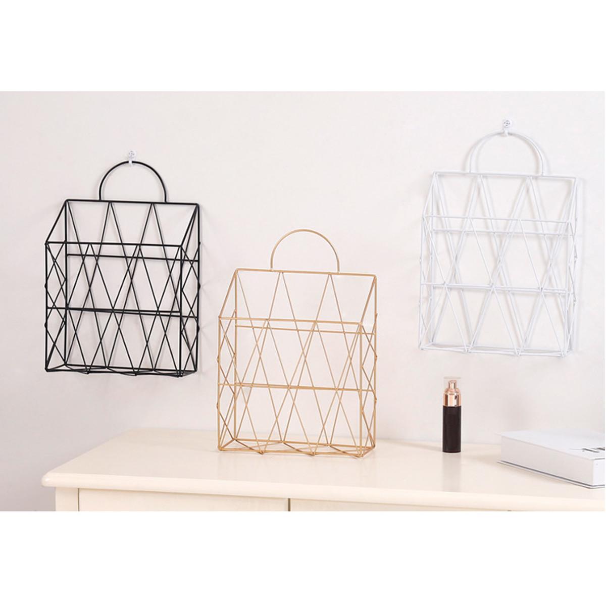 Modern Metal Wire Wall Hanging Shelf Baskets Rack Newspaper Book Storage Display Unit Organizer
