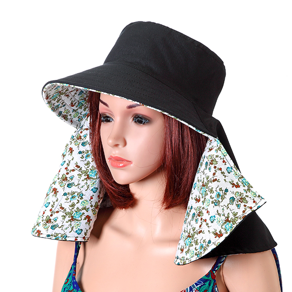 Women Face Neck Protection Wide Brim Beach Hat Double-side Flower Print Outdoor Gardening Caps