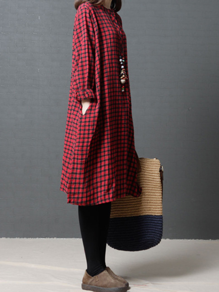 Women Plaid O-neck Long Sleeve Shirt Dress
