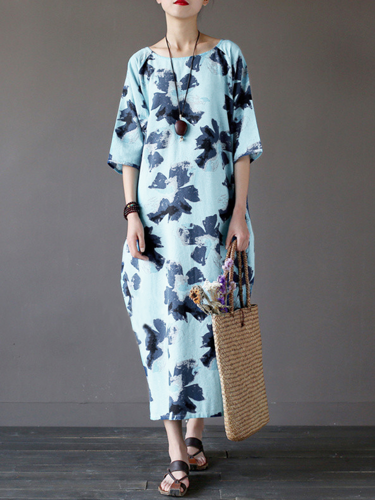 O-NEWE Women Loose Floral Slit Half Sleeve Floral Dress