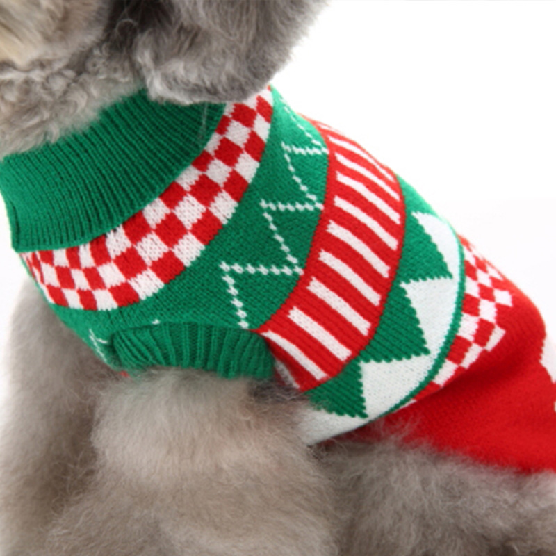 Christmas Theme Pet Sweater Dog Cat Warm Knit Crochet Pullover Springy Clothes Apparel Coats