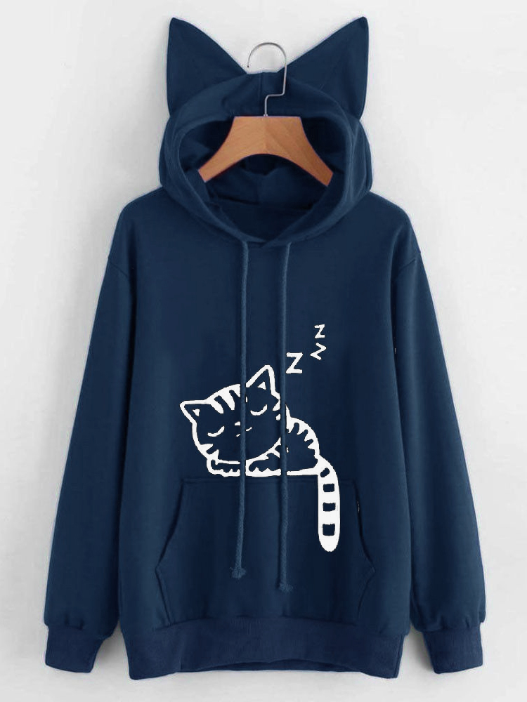 S-5XL Cat Ears Hooded Cute Cat Pattern Printed Hoodies