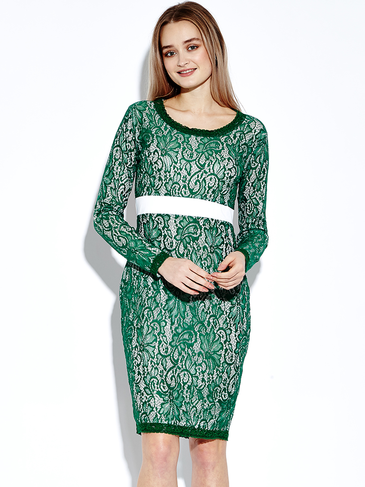 Women Crochet Lace Solid Color Long Sleeve Dresses