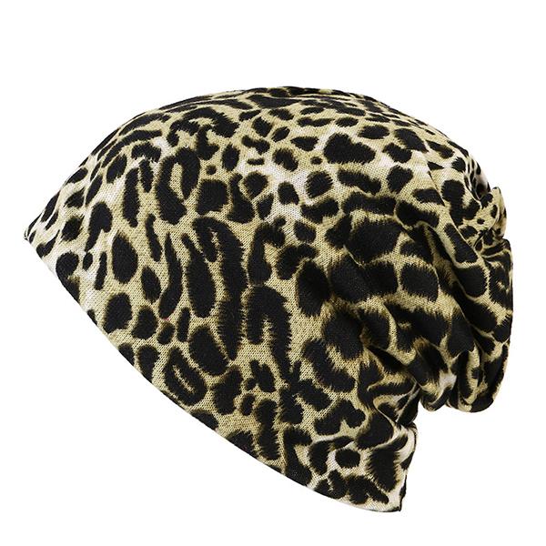 Dual Use Leopard Winter Beanie Hat Cap