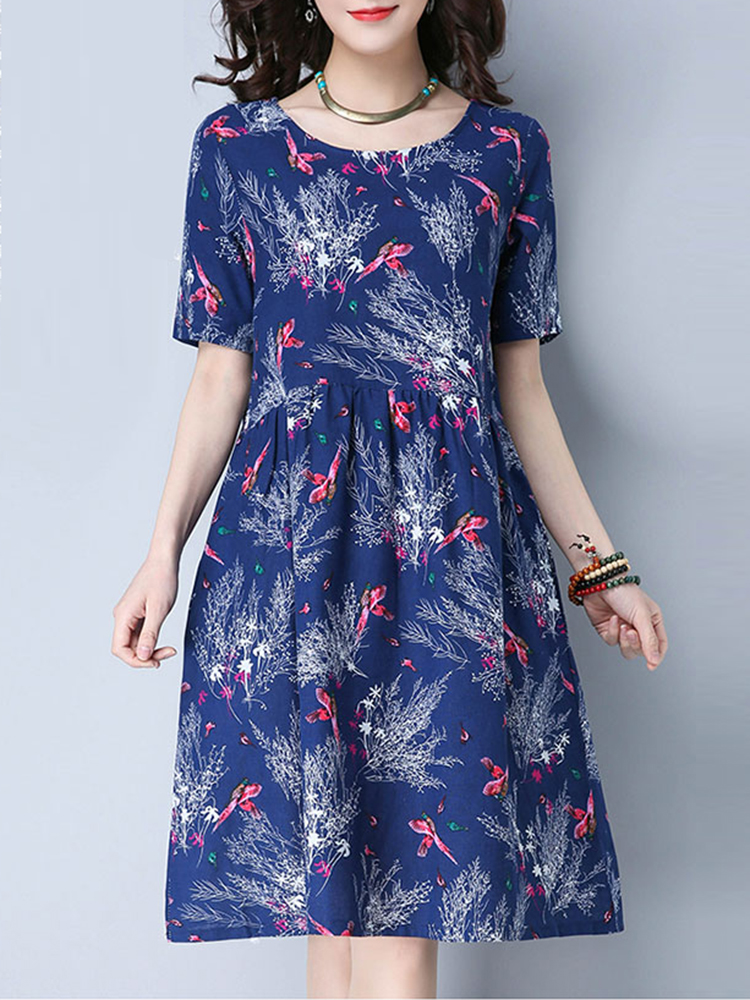 Summer Women Floral Print O-Neck Short Sleeve Knee-Length Dresses
