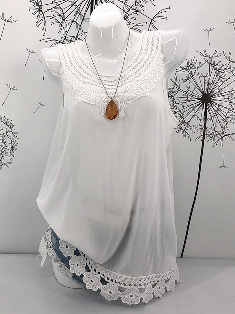 Plus Size Cotton Pure Color Lace Hem Tank Tops