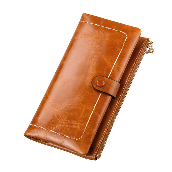 Women Oil Genuine Leather Luxury Long Wallet Hasp Purse Card Holder Coin Bags 5.5'' Phone Bags