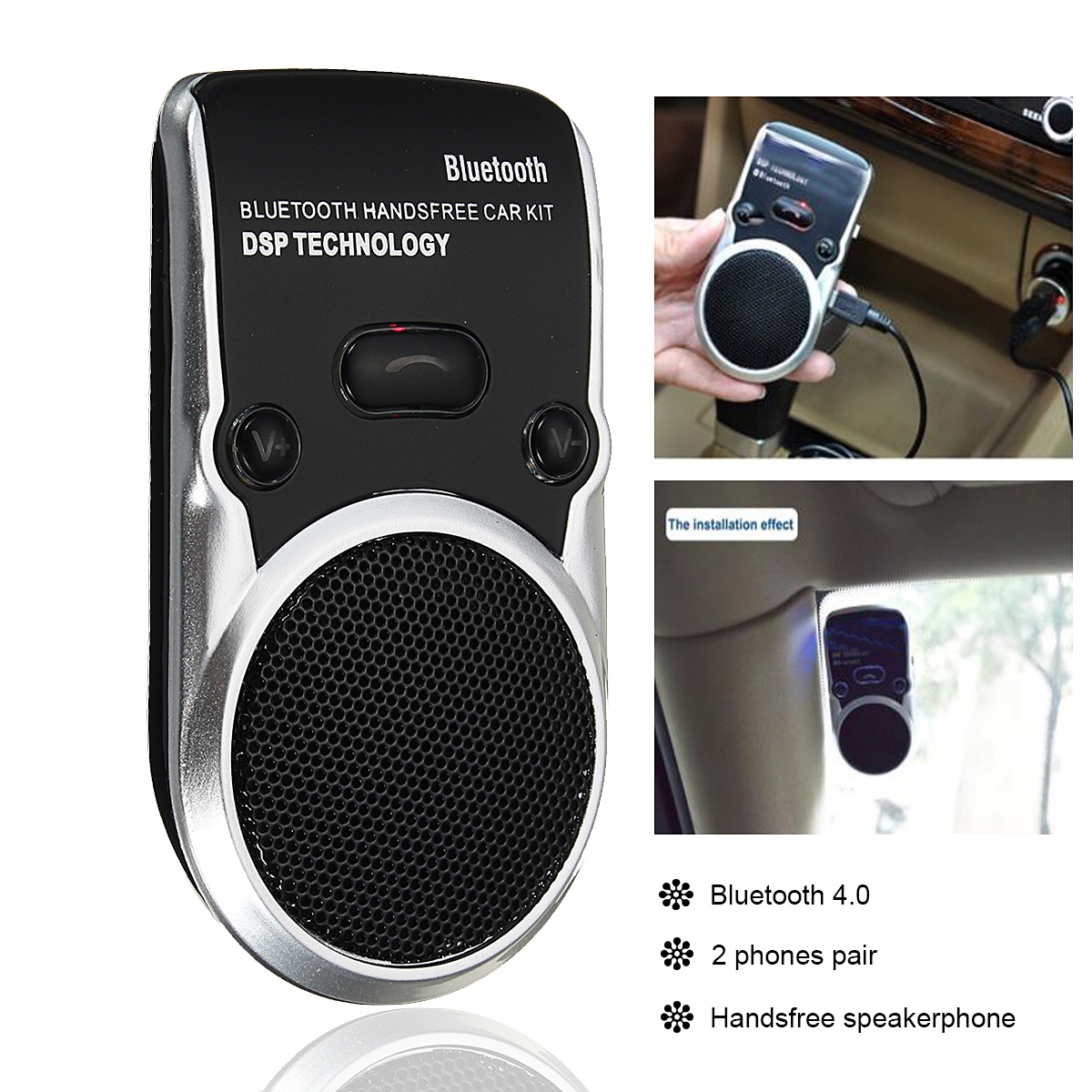 Solar Powered bluetooth Car Kit Handsfree Speakerphone Speaker for Iphone Android