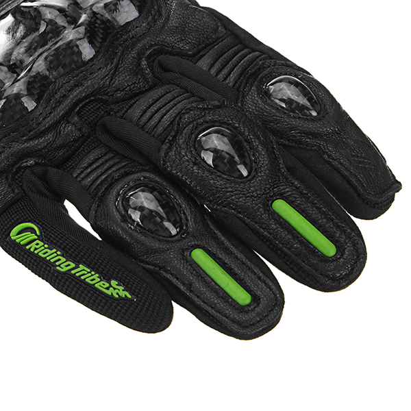 Touch Screen Carbon Fiber Sheepskin Gloves Motorcycle Racing Full Finger Glove