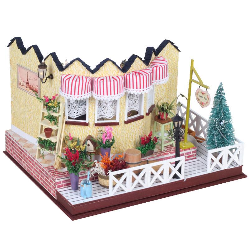Hoomeda LY001 Herb Tea Vanilla Milk Tea House DIY Dollhouse With Music Light Cover Miniature Model