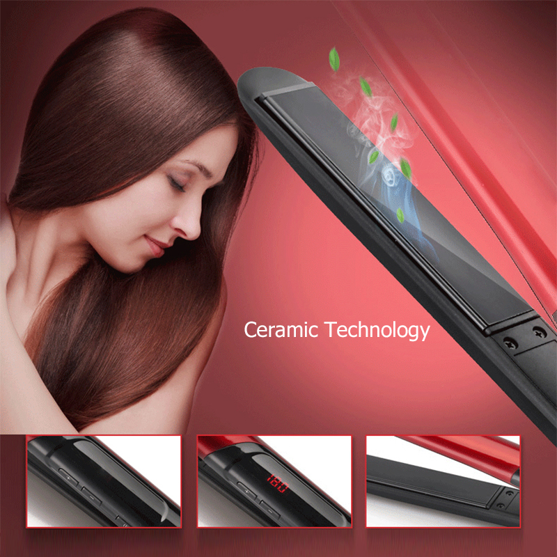 2 in 1 Hair Straightener & Curler Hair Care Styling Tools Ceramic Wave Hair Roller Magic Curling