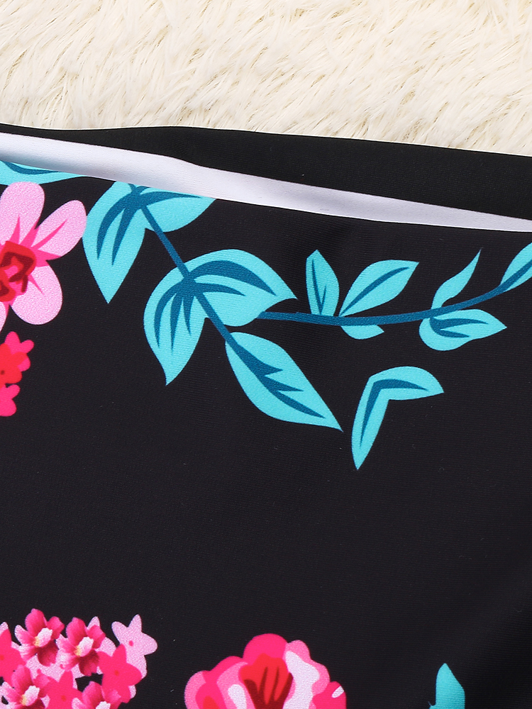 Double-faced Floral Printing Halter Swimwear