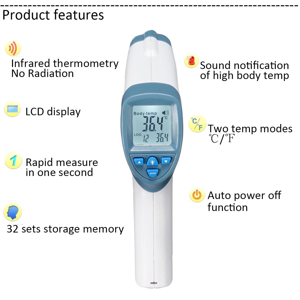 Infrared Baby Kid Digital LCD Thermometer Non contact Handheld Body Surface Temperature