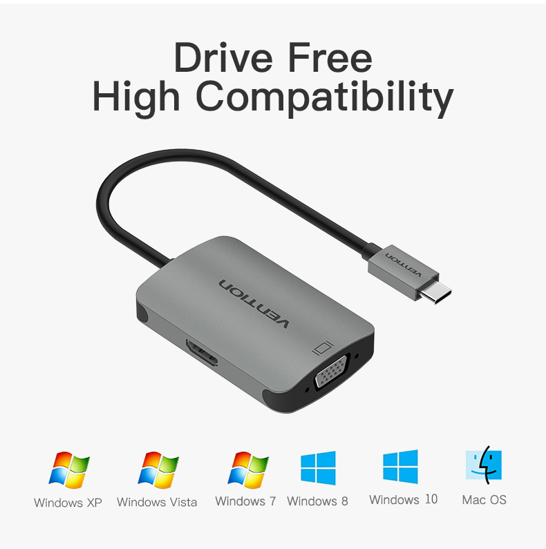 Vention CGKHA USB C to HDMI 4K VGA 1080P 60Hz Male Type-c to VGA HDMI Convertor for TV Projector Hub