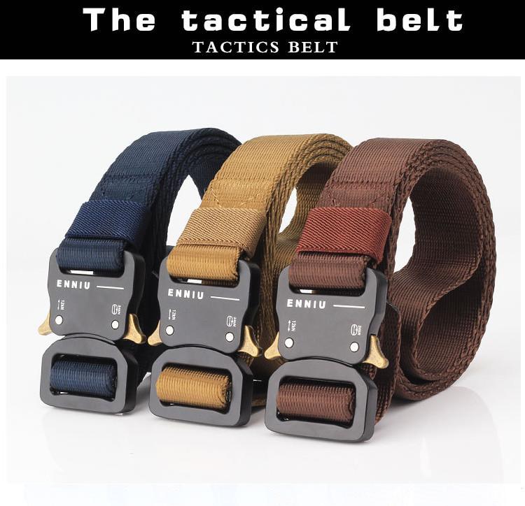 125cm ENNIU 3.2cm TB11-1 Thicken Nylon Tactical Belt Army Fan Metal Quick Release Military